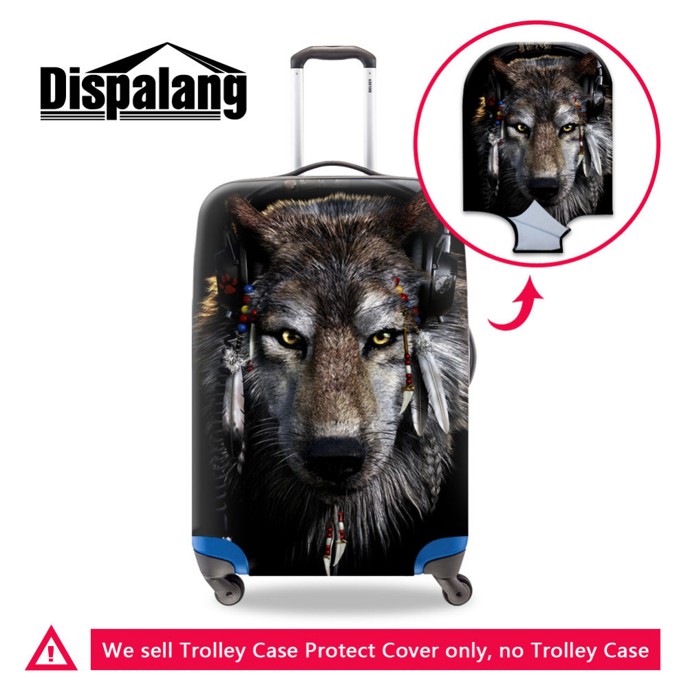 Dispalang Wolf Print Suitcase Protect Cover Travel Elastic Luggage Covers For 18 20 22 24 26 28 30 Inch Trolley Case Dust Cover