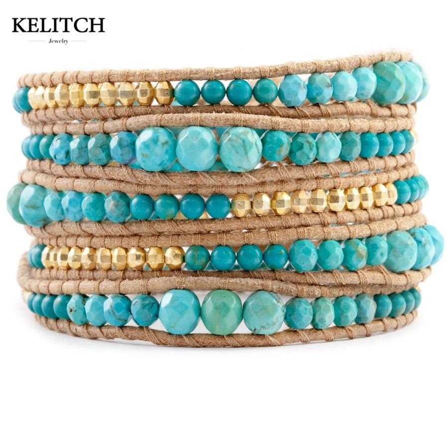 KELITCH Beaded Leather Wrap Women Handmade Leather Cuff Bracelet Natural Green Stone & Gold Beads Bracelet Boho Summer Jewelry