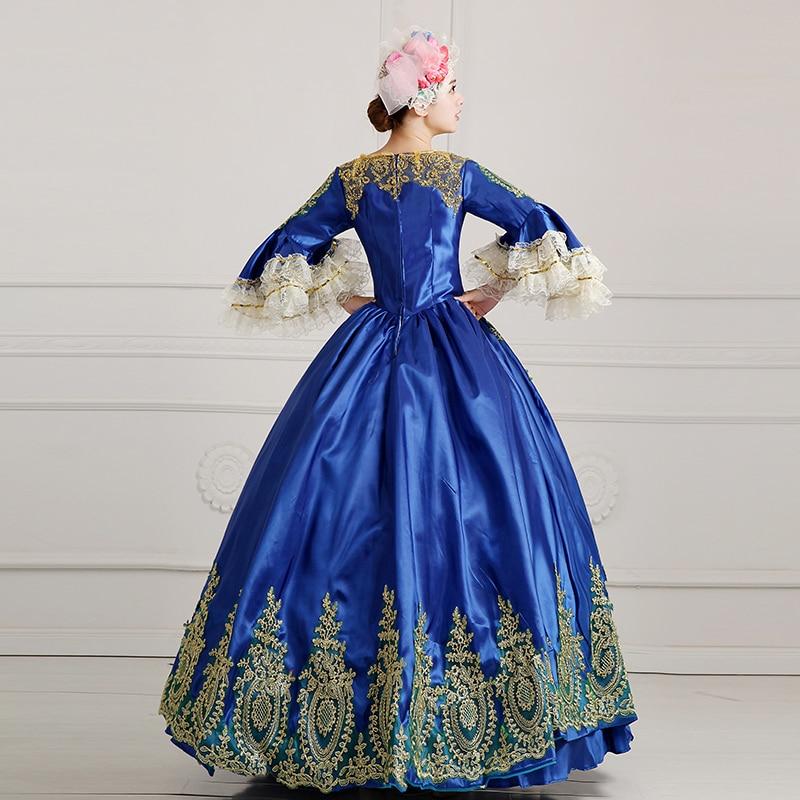 Picture Long 18th Appliques Manches Flare As Partie Robe Arrivée Picture as Marie Or Pour Nouvelle Femmes Baroque Rococo antoinette Bleu Siècle Robes qBP1YE