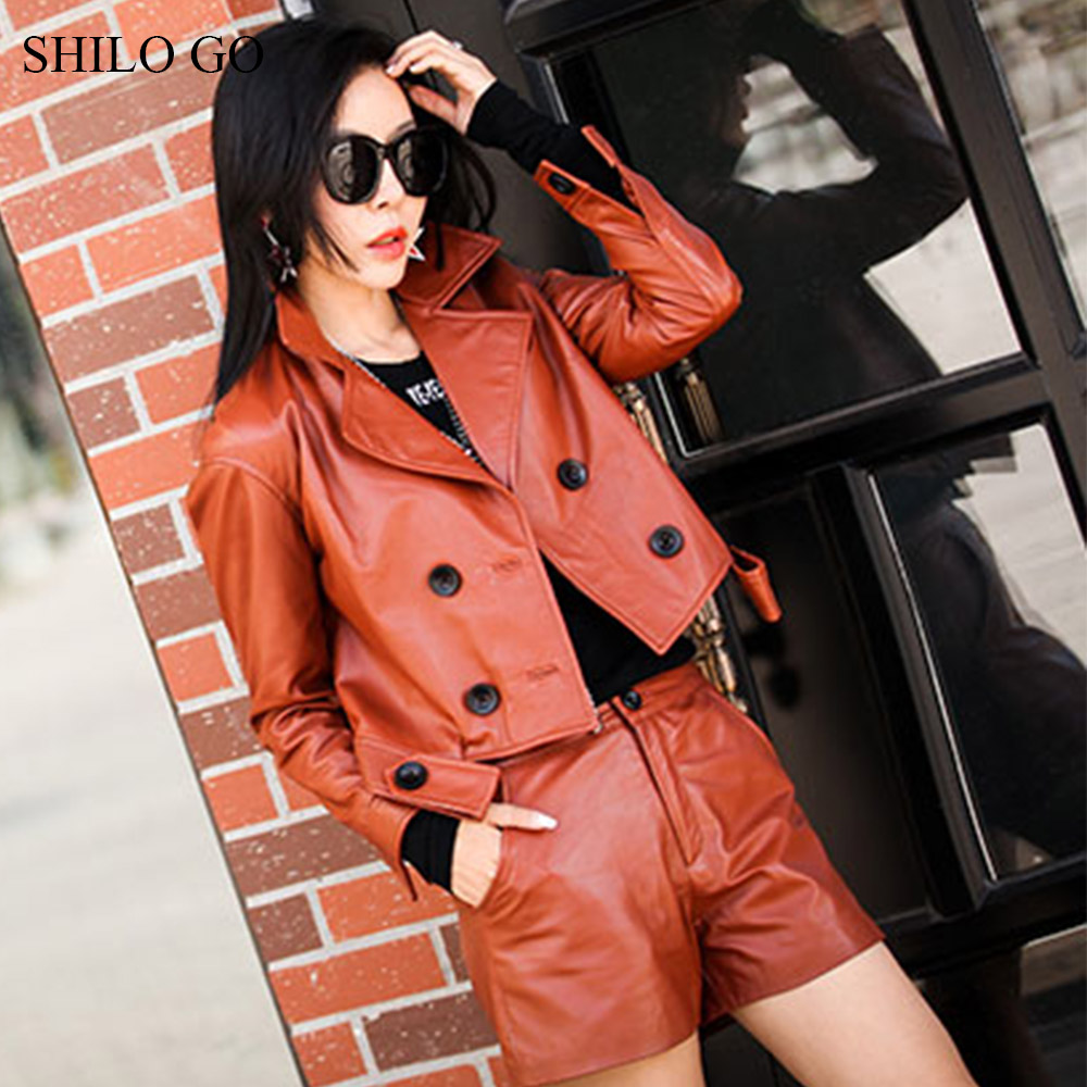 SHILO GO Leather Jacket Womens Spring Fashion sheepskin genuine leather Coat lapel collar long sleeve double breasted loose coat