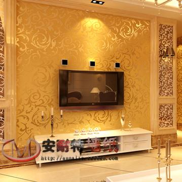 Buy silver gold fashion brief pvc for Gold wallpaper living room