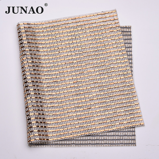 JUNAO 24x40cm Champagne Hot Fix Rhinestones Mesh Fabric Glass Crystal  Appliques Trim Strass Ribbon Banding for 0ba906ebc84a