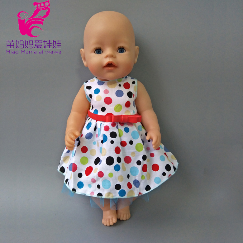 43cm Zapf Baby Born doll colorful dots dress with stra 45CM 18 inch doll dress baby girl Christmas gift