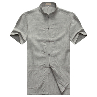 WAEOLSA Summer Men Linen Cotton Shirts Gray Tunic Blouses Man Mandarin Collar Top Gris Tangzhuang Tunics Male Plain Tang Shirt