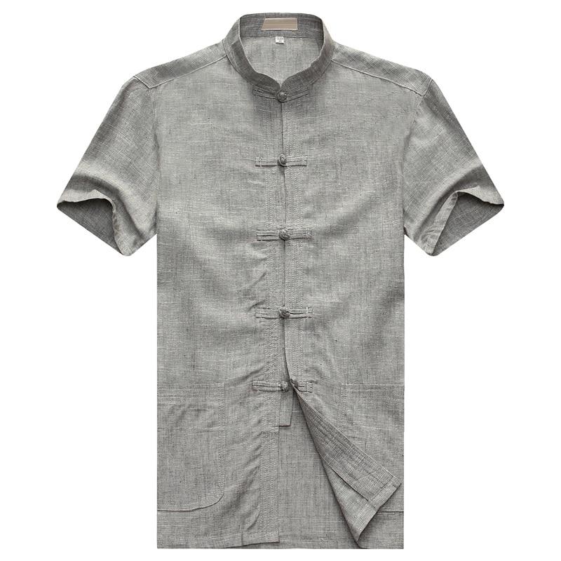 WAEOLSA – chemises dété en lin et coton pour hommes, tunique grise à col Mandarin, Tangzhuang, tunique unie