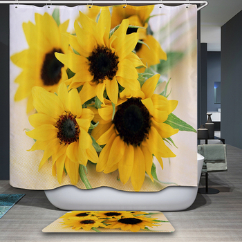 Customizable Polyester Fabric 3d Shower Curtain Yellow Sunflower Flower Pattern Washable Polyester Bath Curtain Bathroom Product