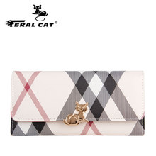 FERAL CAT Hot Sale Women Clutch PVC Wallet Female Long Zipper Purse Strap Money Bag monederos para mujer