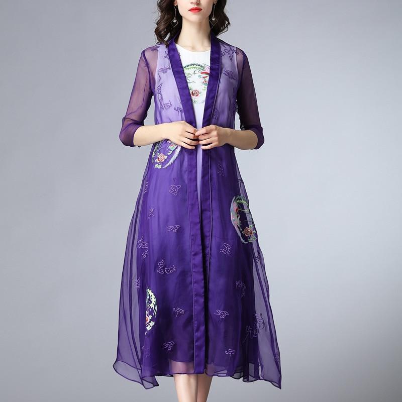 silk floral bohemian robe femme ete 2019 summer long vintage women's dresses plus size loose purple embroidery flower 2 piece