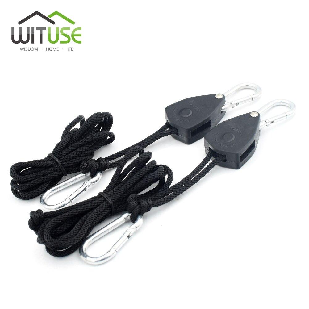 WITUSE Low Price! 2PCS Hydroponics Tube Reflector HPS LED Grow Light Hanger Adjustable Rope S-hook D carabiner Hanger