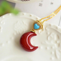 Fine Red Natural Coral Necklace Moon shape Pendant Fashion clavicle chain Lucky for Women Girl Gift Necklace Jewelry