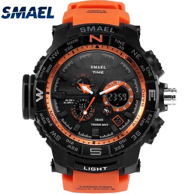 Arancione Vigilanza Di Sport Smael Orologi Di Marca Led Digital Wristwach Multi-