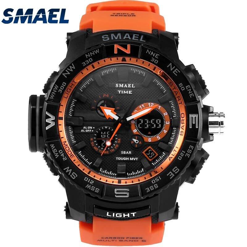 Orange Sport Montre SMAEL Marque Montres LED Numérique Wristwach Multi-fonctionnelle Hommes Horloge Led Chronomètre 1531 S Choc Sport montre