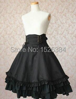 e060ce0166 High Quality Girls Women Cotton Empire Waist Gothic Lolita Skirt With  Bow-knot Ornament Women