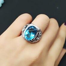 Мужское кольцо из серебра 925 пробы с натуральным топазом