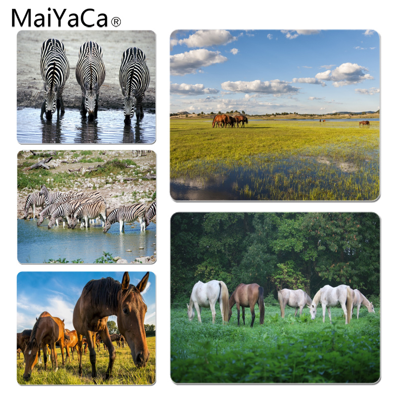 MaiYaCa Vintage Cool Drinking Horses Durable Rubber Mouse Mat Pad Size for 18x22cm 25x29cm Rubber Mousemats