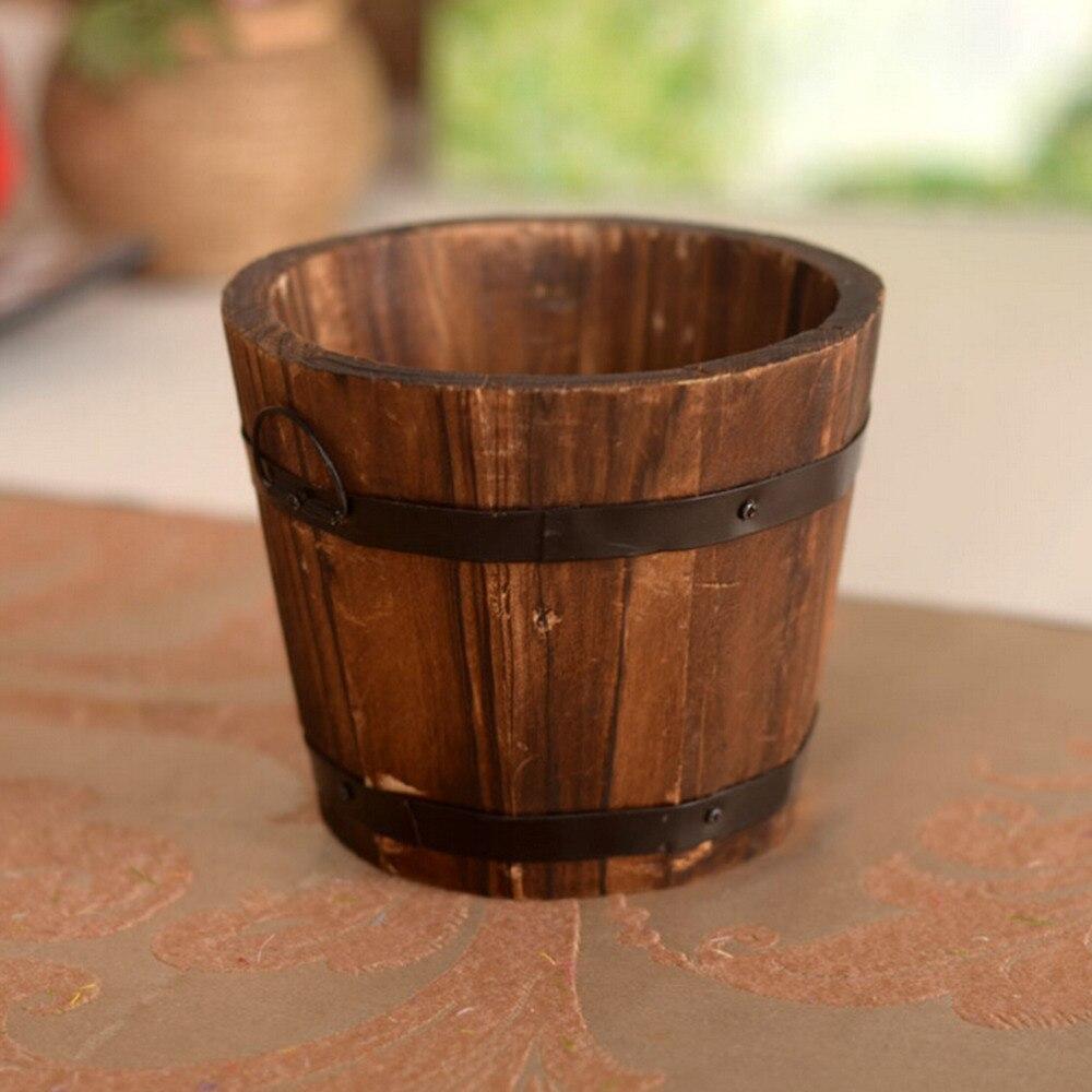 Home Garden Round Wooden Flower Pots Retro Planter Barrel Office