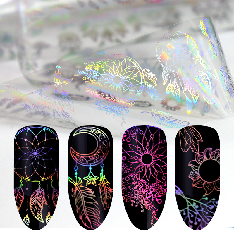 Blueness 1Roll Dream Catcher Design Nails Art Decorations Laser Transfer Foil Stickers Manicure Declas For Nails Accessories