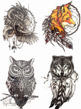 Save More 4PCS/SET Combo Fox Wolf Owl Lion Temporary Tattoo Combo