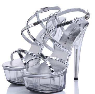 Women Shoes Summer Sexy Sandals Non-slip  Waterproof Nightclub 15cm High ShoesT Station Catwalk Crystal High-heeled Size 34-44 sexy temptation to 18 centimeters nightclub high heeled shoes catwalk show reception appeal colourful shoes dance shoes
