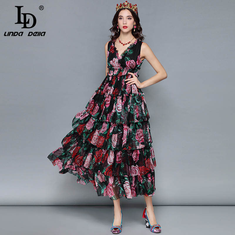 LD LINDA DELLA Midi Summer Dress Women's Sexy V Neck Sleeveless Vintage Elegant Rose Floral Print Ruffles Vacation Holiday Dress