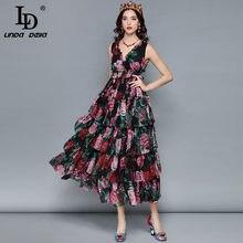 LD LINDA DELLA Midi abito estivo da donna Sexy scollo a V senza maniche Vintage elegante rosa stampa floreale volant abito vacanza vacanza