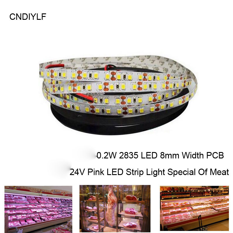 2017 New 1m Pink LED Light Strip 24V 120pcs 0.2w Pink 2835 SMD LED 20-22lm/LED Special Of Meat Cabinet Decoration cafele pink 1m
