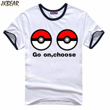 Funny Pokemon Go Poke Ball Print Short Sleeve T Shirts for Adult Men and Women Japanese Anime Fans Cotton Tee Plus Size S-XXL