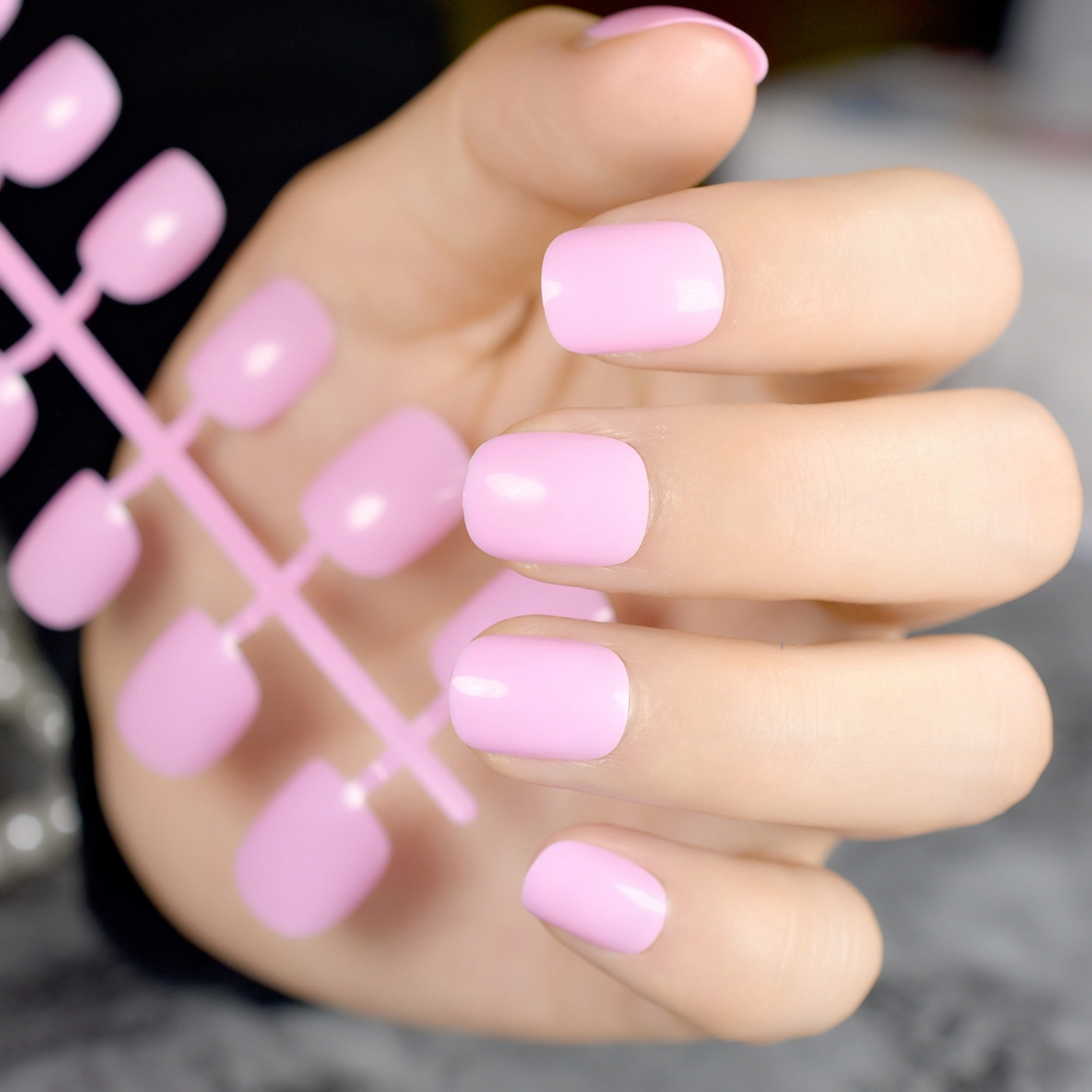 Shiny Baby Pink Nail Art Tips Short Fake Nails Kids Small Nail Tips ...