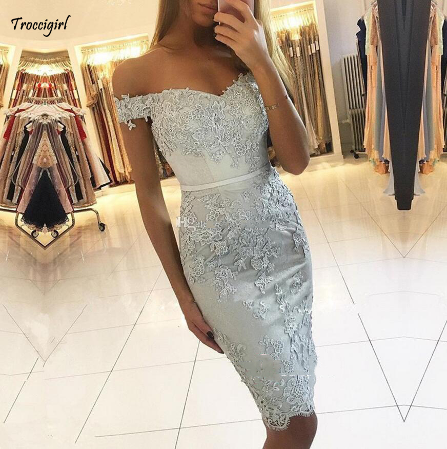 2019 Custom Made Off The Shoulder Short   Cocktail     Dresses   Lace Appliques Mermaid Formal Occasion   Dresses   Party Gowns Custom