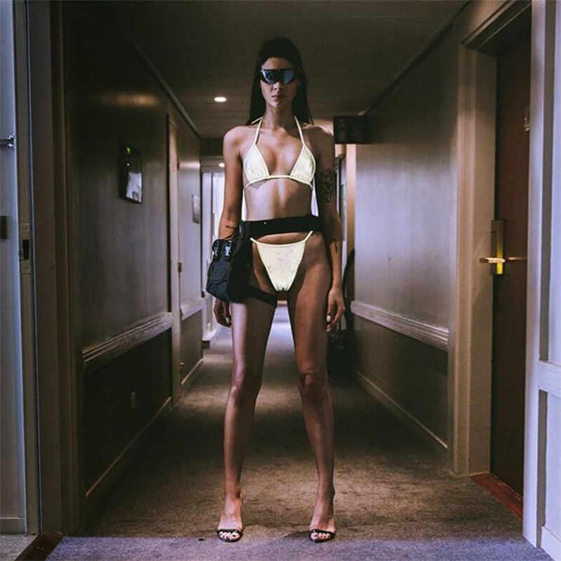 女性反射ためバスビーチセクシーなスリング無地クロップトップ + 弾性ウエストブリーフツーピースセット