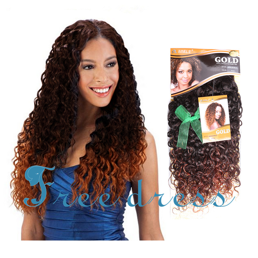Gold Noble Dancing Beyonce Curl 22inch Long Ombre Brown Deep Wavy