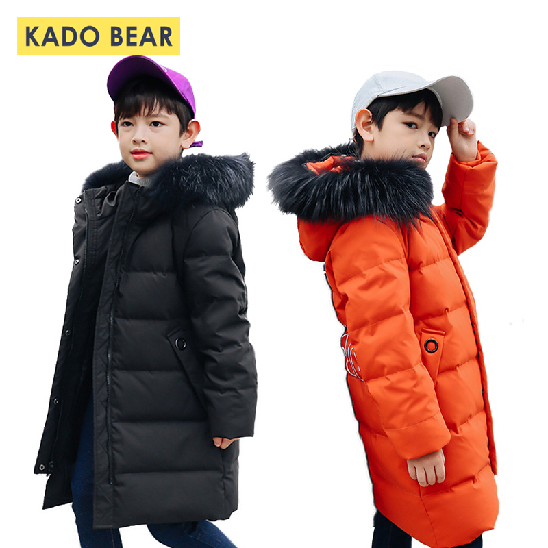 Boys Winter Down Coat for Kids Hooded Fur Collar Thick Jackets Baby Boy Warm Outerwear 2018 Fashion Long Coats Children Clothes weixu fashion girls winter coat kids outerwear parka down jackets hooded fur collar outdoor warm long coats children clothing