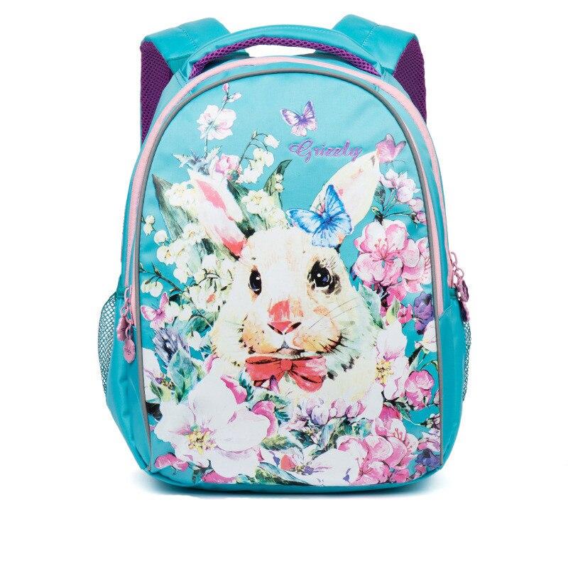 GRIZZLY Russian Children Backpack Girls School Bag Lovely Cartoon Rabbit Primary School Portfolio Orthopedic Backpacks Grade 1-3