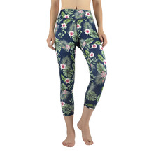 Sexy Hot Women's 7 Point Pants Summer Fit Stretch Capris Exercise Leggings Fashion Floral Printed Side Pocket Calf-Length Pants