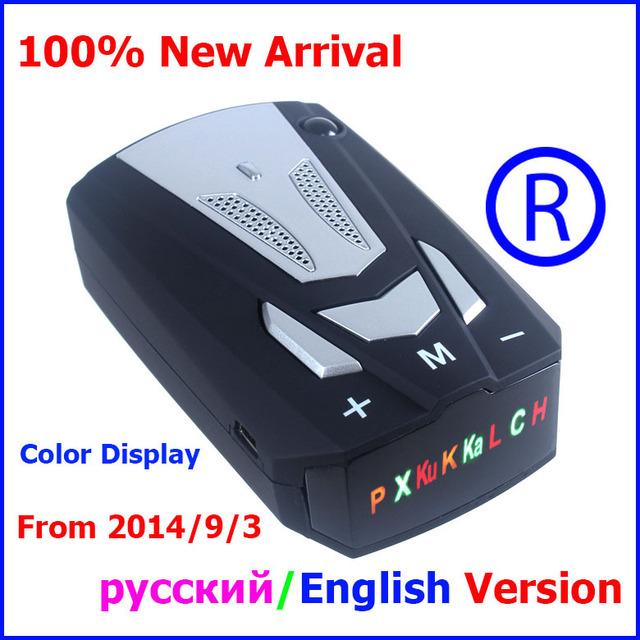 High quality - 100% Factory price V7+ Car detector with Russian/English Voice Radar Detector Colorful Display + USB Cable