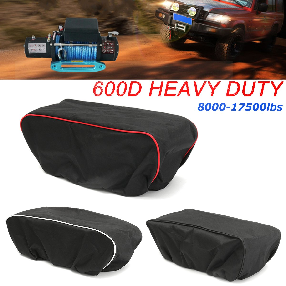 Persevering Black/white/red 600d Waterproof Car Cover Soft Winch Dust Cover 8,000-17,500 Lbs Trailer Suvs Nylon Oxford 56*24*18cm Convenient To Cook