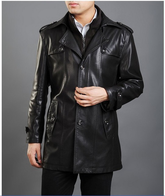 2016 New Men Leather Jacket Fashion Brand Coat Motorcycle Leather Jackets Long Thickening Coat Men Casual Winter