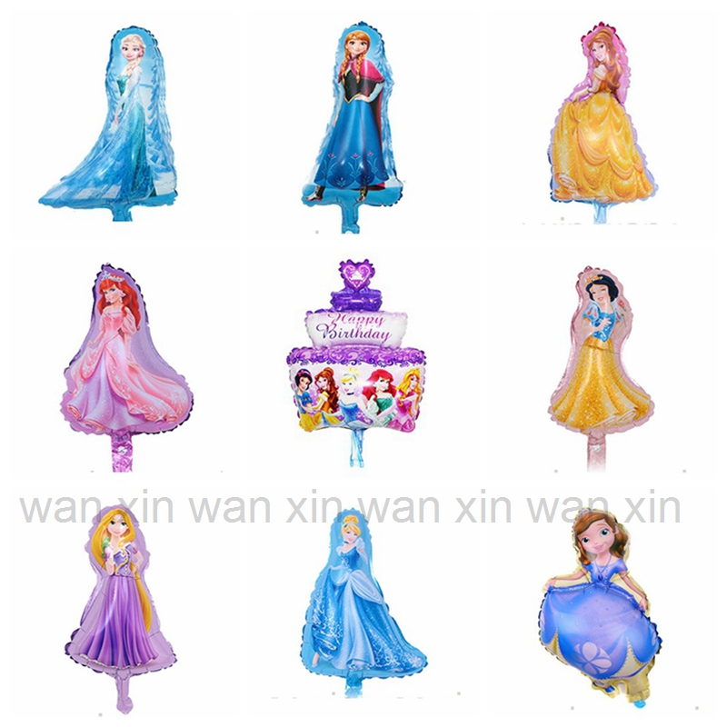(<font><b>100pcs</b></font>/lot) mini size princess party balloons cinderella elsa snow white belle rapunzel <font><b>foil</b></font> balloons for birthday balloons image