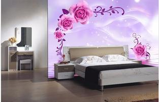 Wallpaper For Living Room 2014 2014 new bedroom, living room pink and purple roses wallpaper