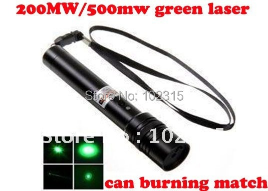 Free Shipping Green Laser Pointer 200MW 500MW Laser Pen adjustable star burning match