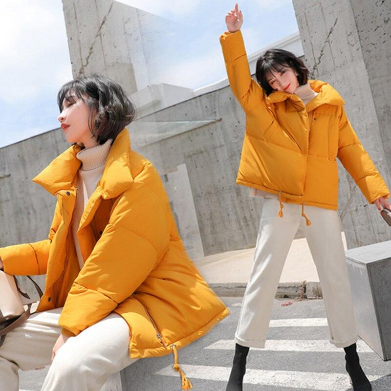 Inverno das Mulheres Para Baixo de Algodão Acolchoado Jaqueta Mulheres Amassado Casacos Casacos Quentes Parkas Curtas Pão Estilo Oversize Solto Casacos Outwear