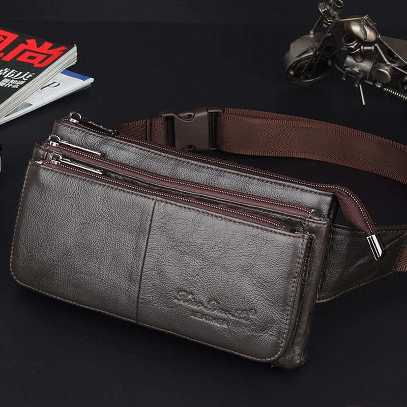 Men Natural Genuine Leather Sling Chest Cross Body Bag Travel Belt Purse Pouch Soft Single Shoulder Messenger Waist Pack Bags