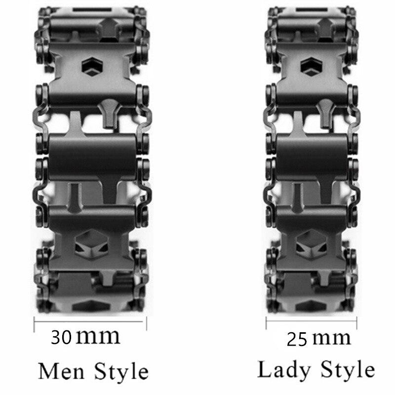 Lady portable bande de roulement caractéristiques 29 outils montre lien boucle outil multifonction tournevis main chaîne champ survie Bracelet
