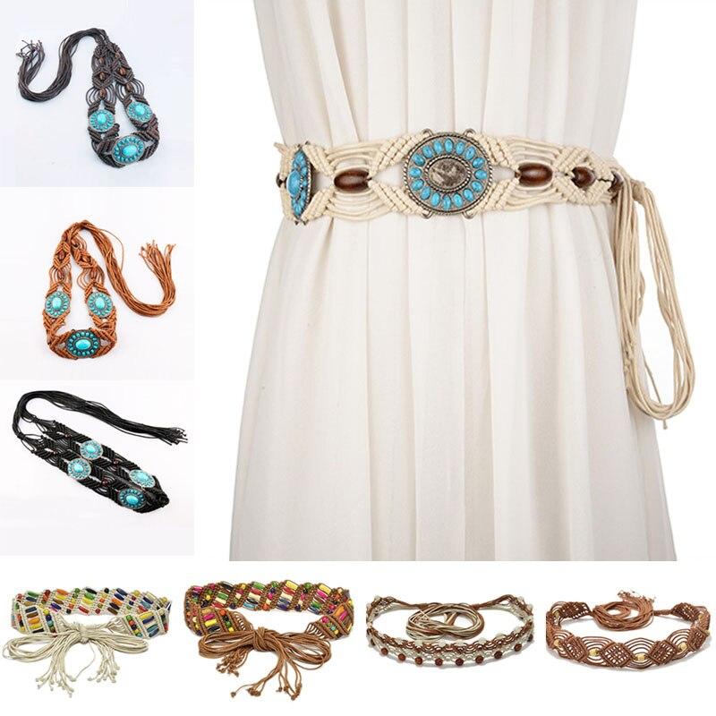 Corda feminina estilo boêmio, cinto corrente de cintura acessório para vestir