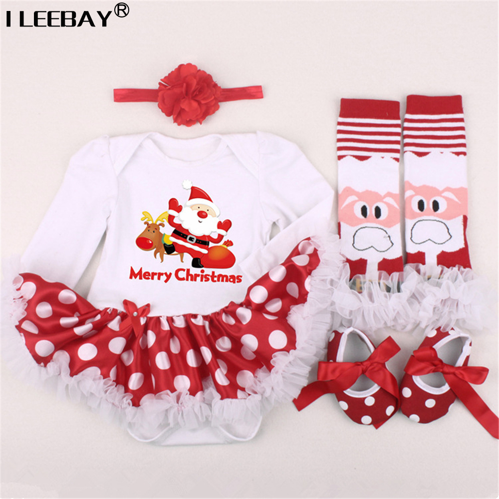 Newborn Baby 1st Christmas Clothing Girls Romper 4pcs Set Infant Dress KidsGirl Birthday Costume Romper+Stockings+Headband+Shoes new baby girl clothing sets lace tutu romper dress jumpersuit headband 2pcs set bebes infant 1st birthday superman costumes 0 2t