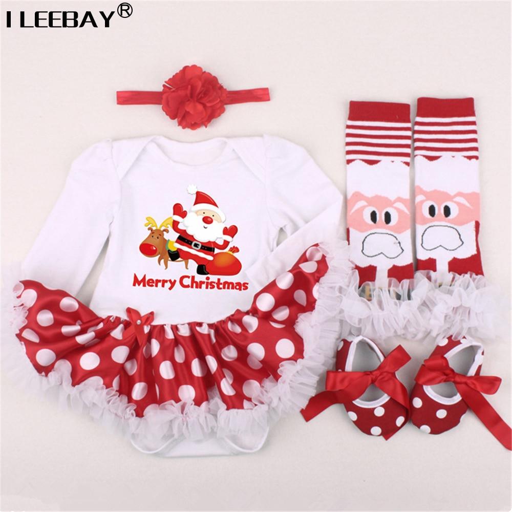 Newborn Baby 1st Christmas Clothing Girls Romper 4pcs Set Infant Dress KidsGirl Birthday Costume Romper Stockings