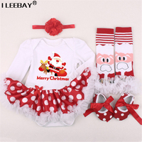 Newborn Baby 1st Christmas Clothing Girls Romper 4pcs Set Infant Dress KidsGirl Birthday Costume Romper Stockings