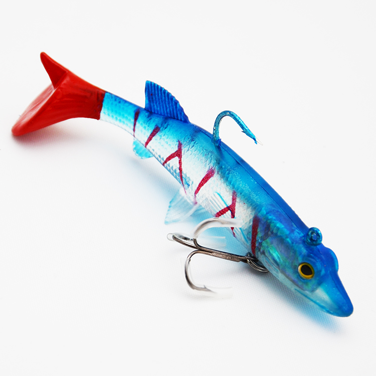 2pcs / lot Lead Head Hook Fish 18g 95mm Classic Fleksibel Soft Lure Swimbaits Kunstig Bait Silikon Fiske Håndter Fiske Lures