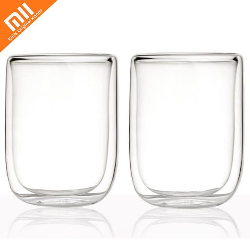 2pcs Xiaomi Mijia17PIN Glass Double-layer Cup Borosilicate Glass 400mL Large Flow Wine Cup