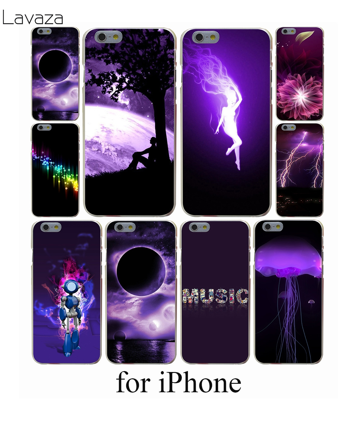 newest aa345 e7585 US $1.99 20% OFF|Lavaza Dark Purple Flowers Hard Case for iPhone X S R XR  XS Max 7 8 6s 6 Plus 5 5s 5c SE 4 4S-in Half-wrapped Case from Cellphones &  ...